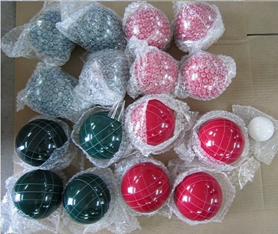 sell 90mm  Resin bocce set in red and green color