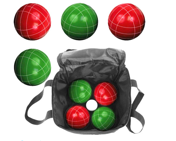 Resin bocce set 8 ball 110mm size red green color