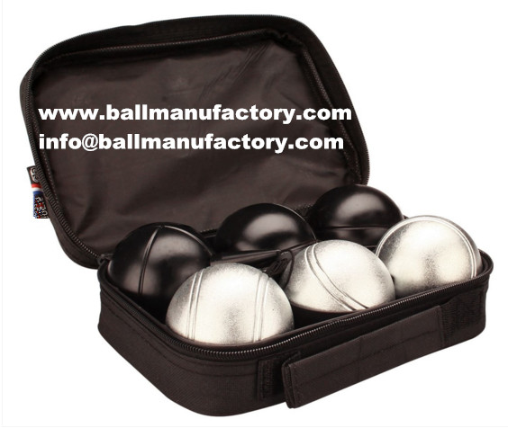 73mm black and silver color boules set 6 ball