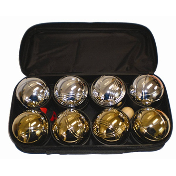 8 ball metal petanque set in silver / golden color