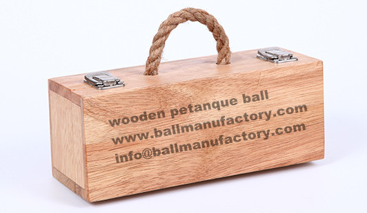 wooden petanque set ball with custom wooden box