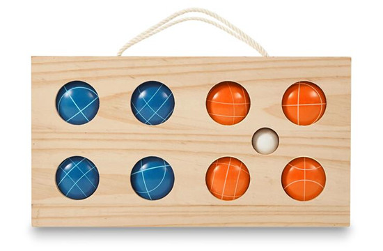 Resin bocce set game garden ball with wooden box