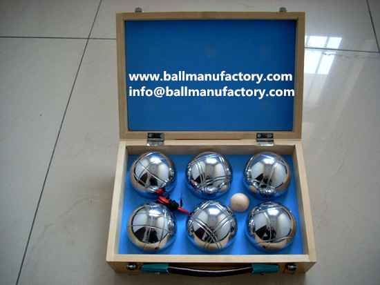 Supply 6 balls petanque  set with wooden case