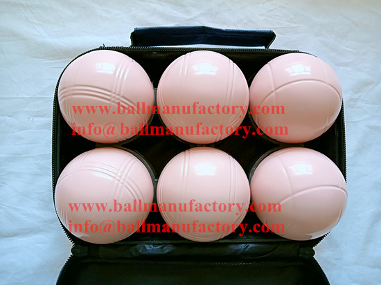 outdoor sport game boules ball petanque pink color