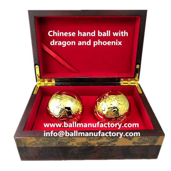 Chinese hand ball in 24k gold finish